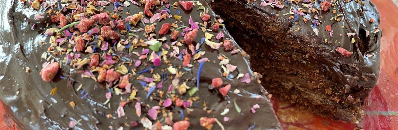 Tarta de chocolate y rosas. Otra receta de carambola